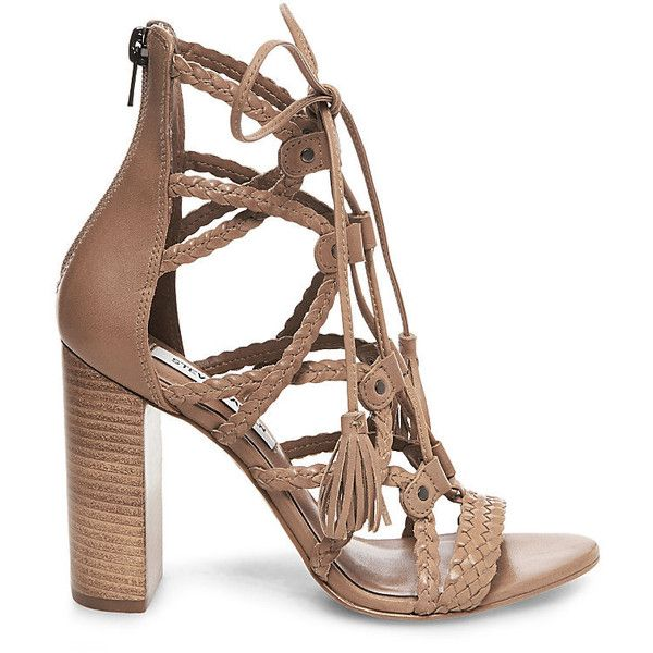 Steve Madden Women's Tarrra Sandals (39.330 HUF) ❤ liked on Polyvore featuring shoes, sandals, gladiator shoes, block heel shoes, woven leather sandals, braided leather sandals and high heel shoes