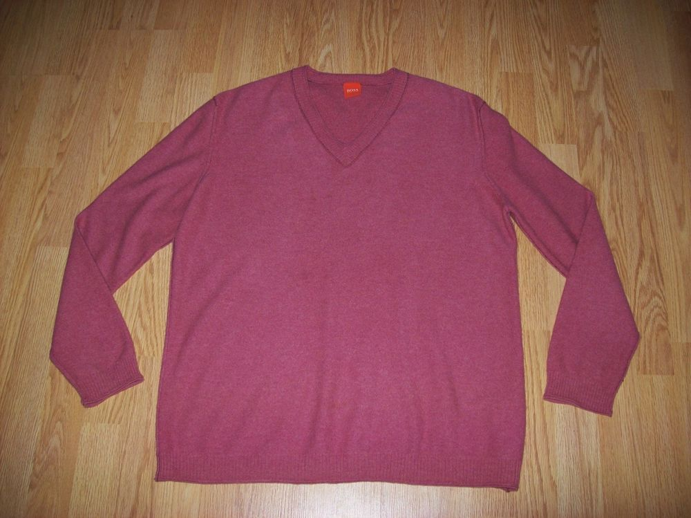 7ab094aa MENS SALMON PINK HUGO BOSS VIRGIN WOOL JUMPER - XXL / 44
