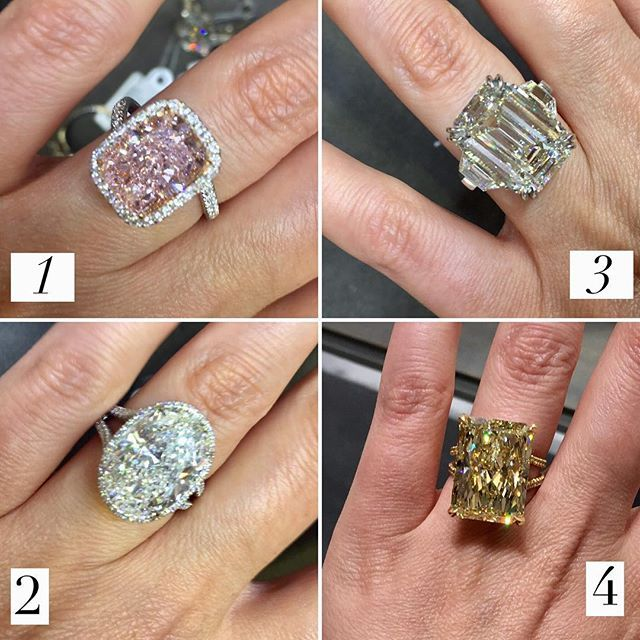 Warning! This post may blow your mind! some serious heavy hitters from @kwiatdiamonds and I am sorry but too many carats to count!  But probably safe to say over 50 carats combined in these pictures That said! It's a throw down! Which number 1️⃣, 2️⃣, 3️⃣, or 4️⃣ what would be your dream ring! Comment and VOTE below!
