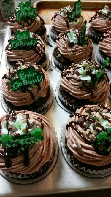 Chocolate Mint St. Paddy's Day cupcakes