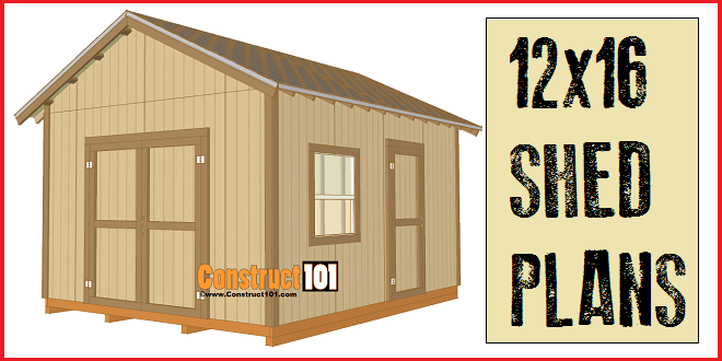12x16 shed plans, with gable roof. Plans include drawings, measurements, shopping list, and cutting list. Build your own storage with Construct101.