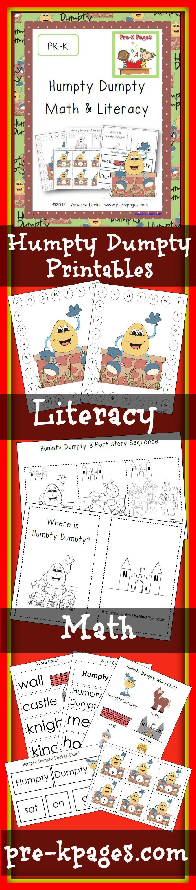 Humpty Dumpty Literacy and Math | Humpty dumpty, Prepositions and ...