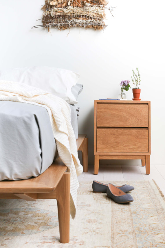 Hayward Night Stand Solid White Oak Two Drawer by hedgehouse ...