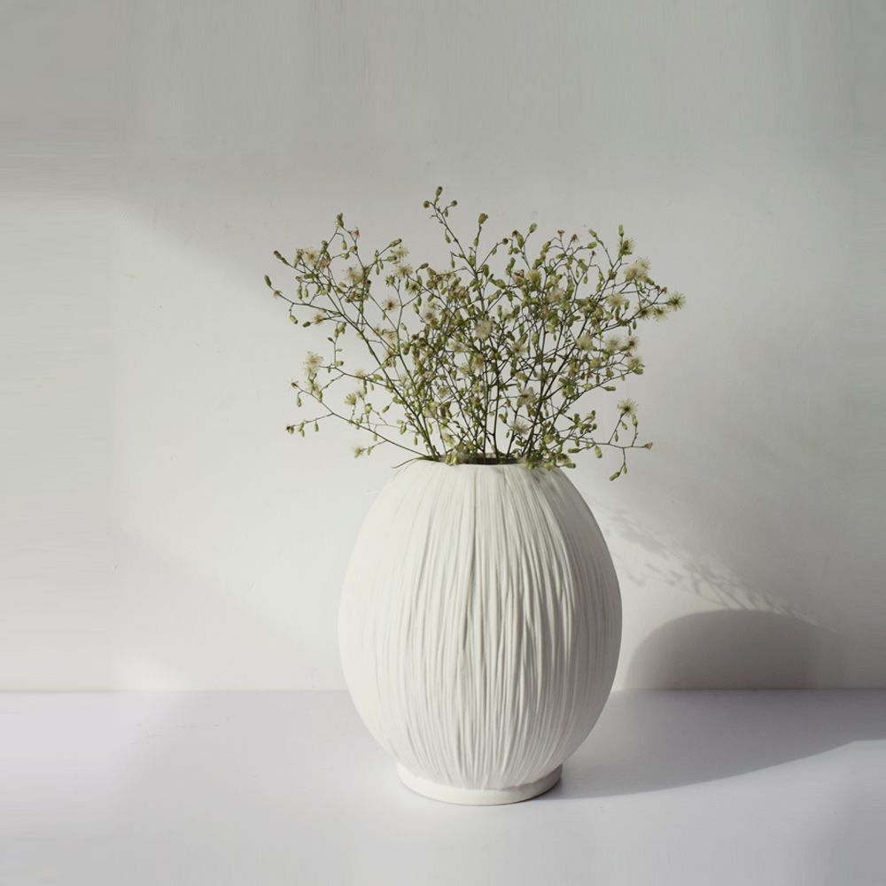 Textured Pure White Ceramic Vases 100 Earthenware Hand Carved