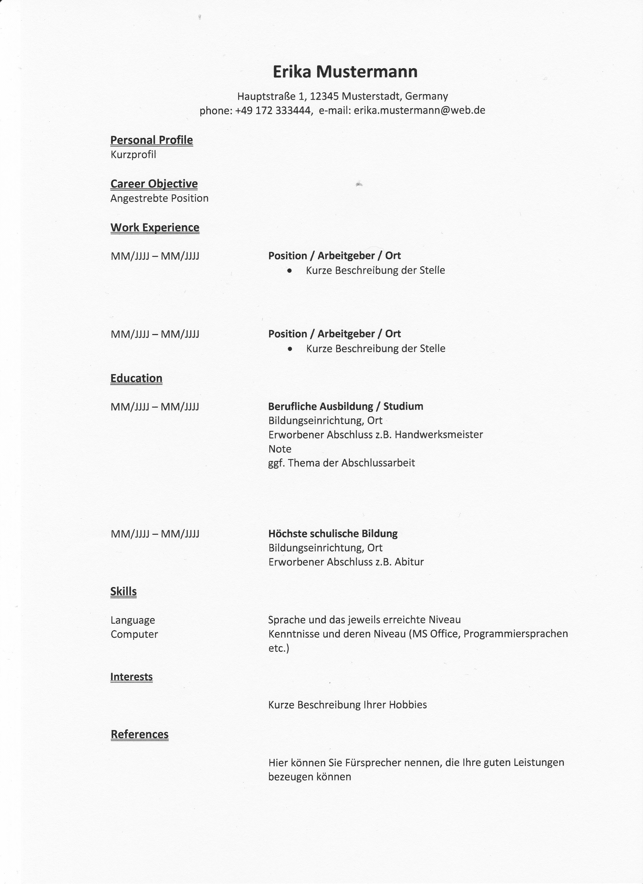 Lebenslauf auf Englisch: Tipps für Resume und CV | Bewerbung und ...