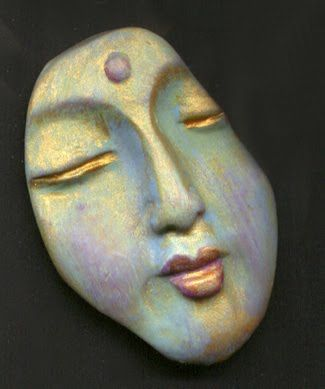 Linsart Creations in Clay: Abstract One Of A Kind Buddha Face Shards
