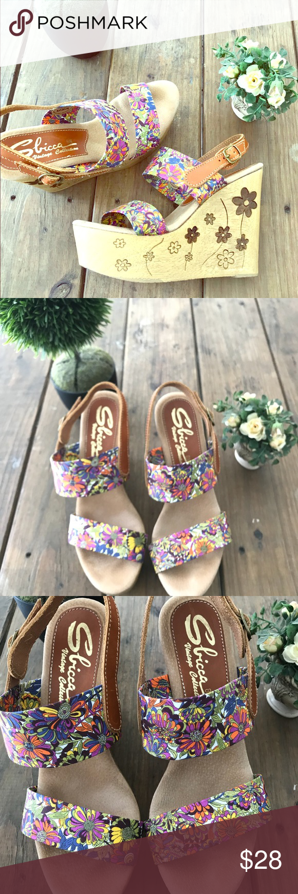 7ee8b3789 Spotted while shopping on Poshmark  SBICCA wedge sandals with floral design  Size 8M!  poshmark  fashion  shopping  style  Sbicca  Shoes