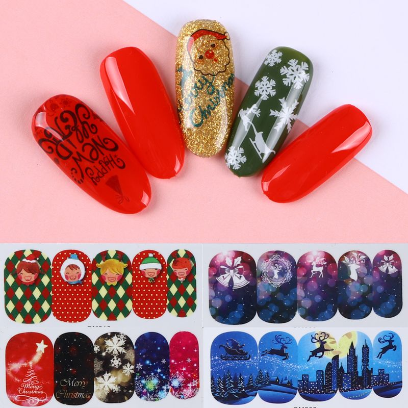 $3.29 45 Sheets Water Decal Christmas Tree Deer Snow Manicure Nail ...