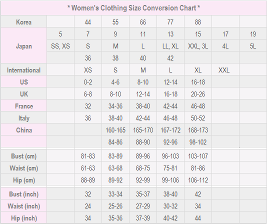 Womans Clothing Size Conversion Chart Sewing Pinterest Chart