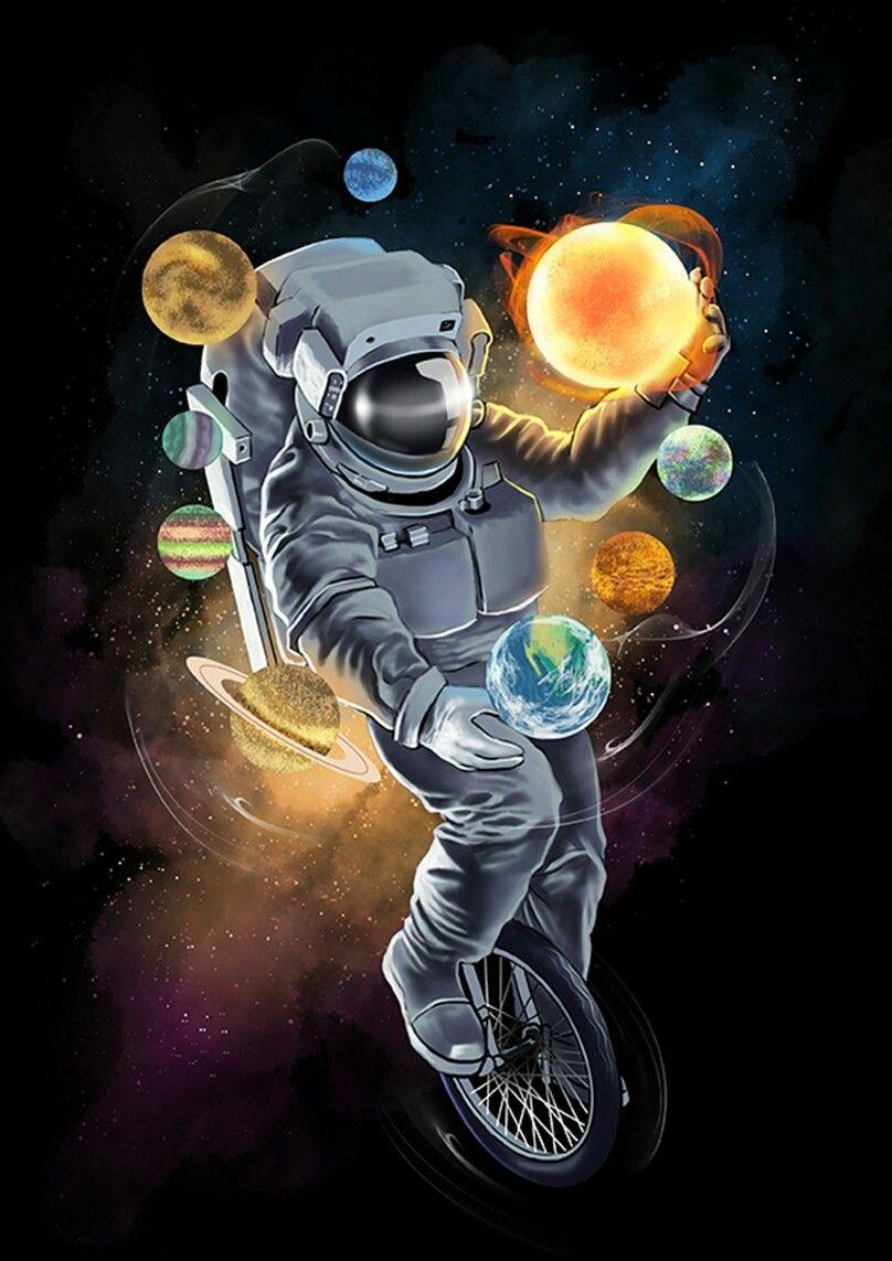 Acid Iphone Wallpaper Astronaut Space Uzay Cosmos Galaxy Drawing Art
