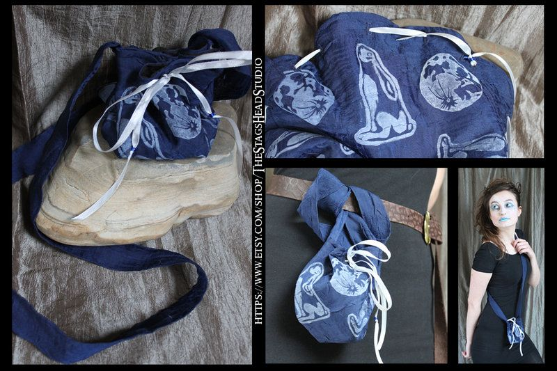 Moongazing Hare Bag: Belt Pouch by TheStagsHeadStudio. Great for Dice, Runes, Coins, Jewellery etc.- Moon Gazing Hare
