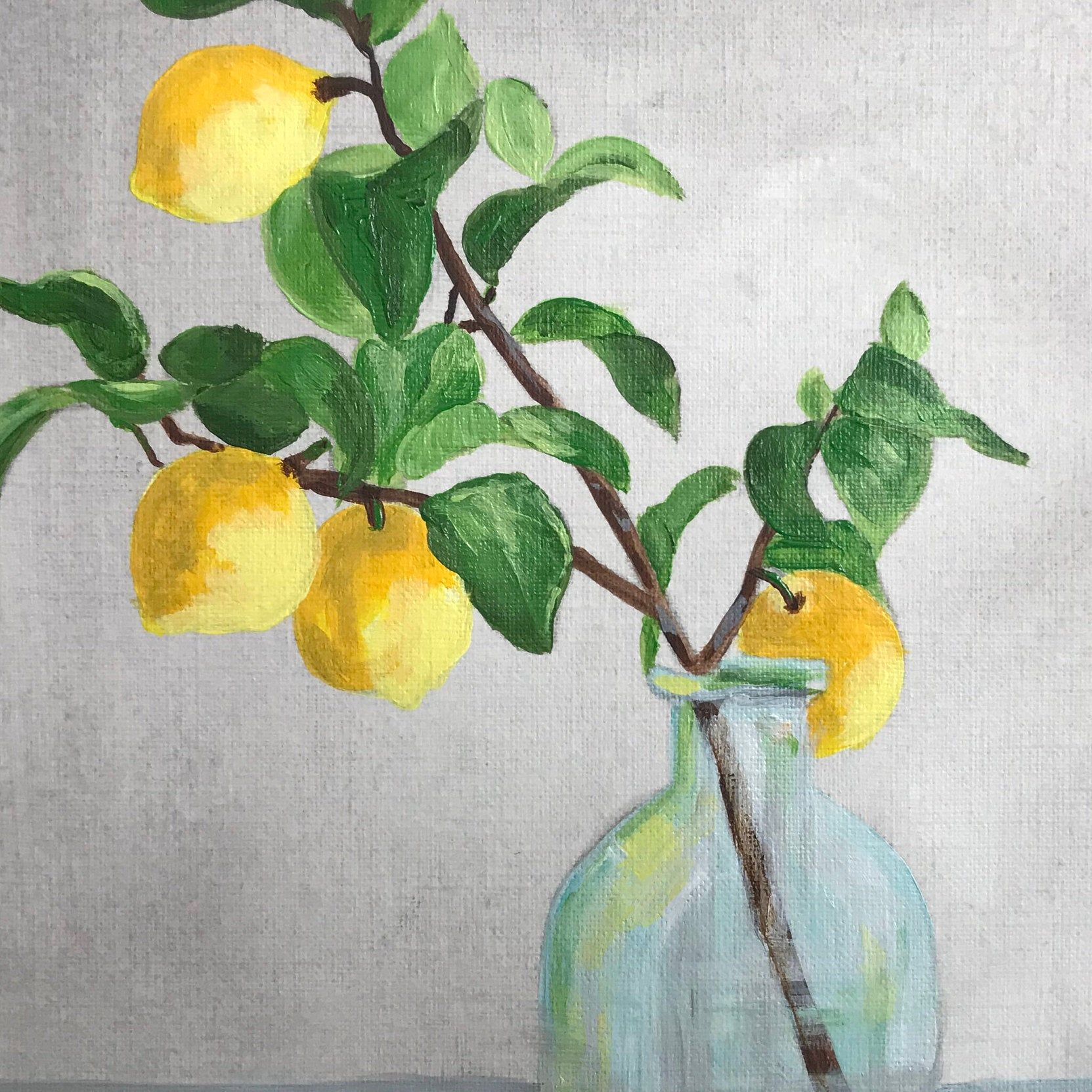 Lemon Branch Painting Art Print Large Contemporary Wall Art Etsy In 2020 Lemon Painting Acrylic Painting Inspiration Etsy Wall Art