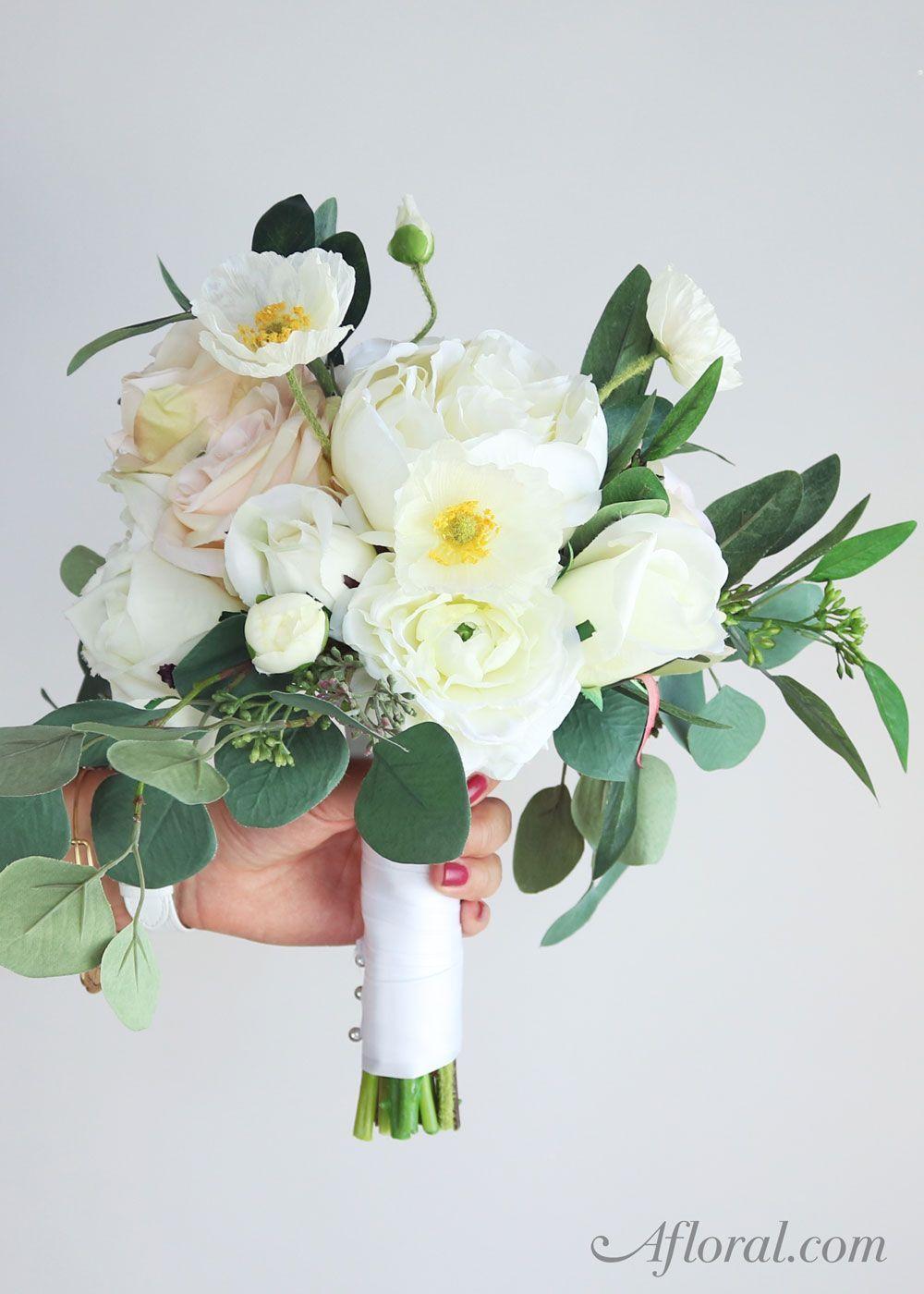 Silk Flower Wedding Bouquet. Make your own bridal bouquet with fake ...