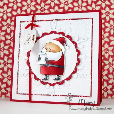 Christmas card layout with snowflake die cut and scalloped circle