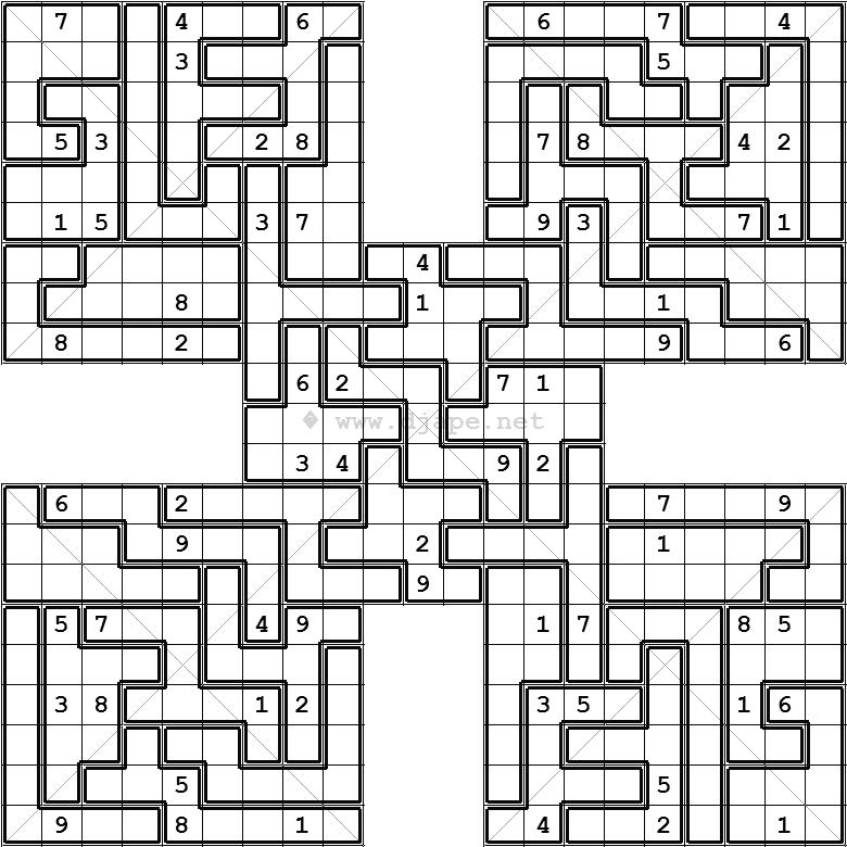graphic regarding Jigsaw Sudoku Printable identify Diagonal Jigsaw Samurai X Sudoku Variant puzzle sudoku