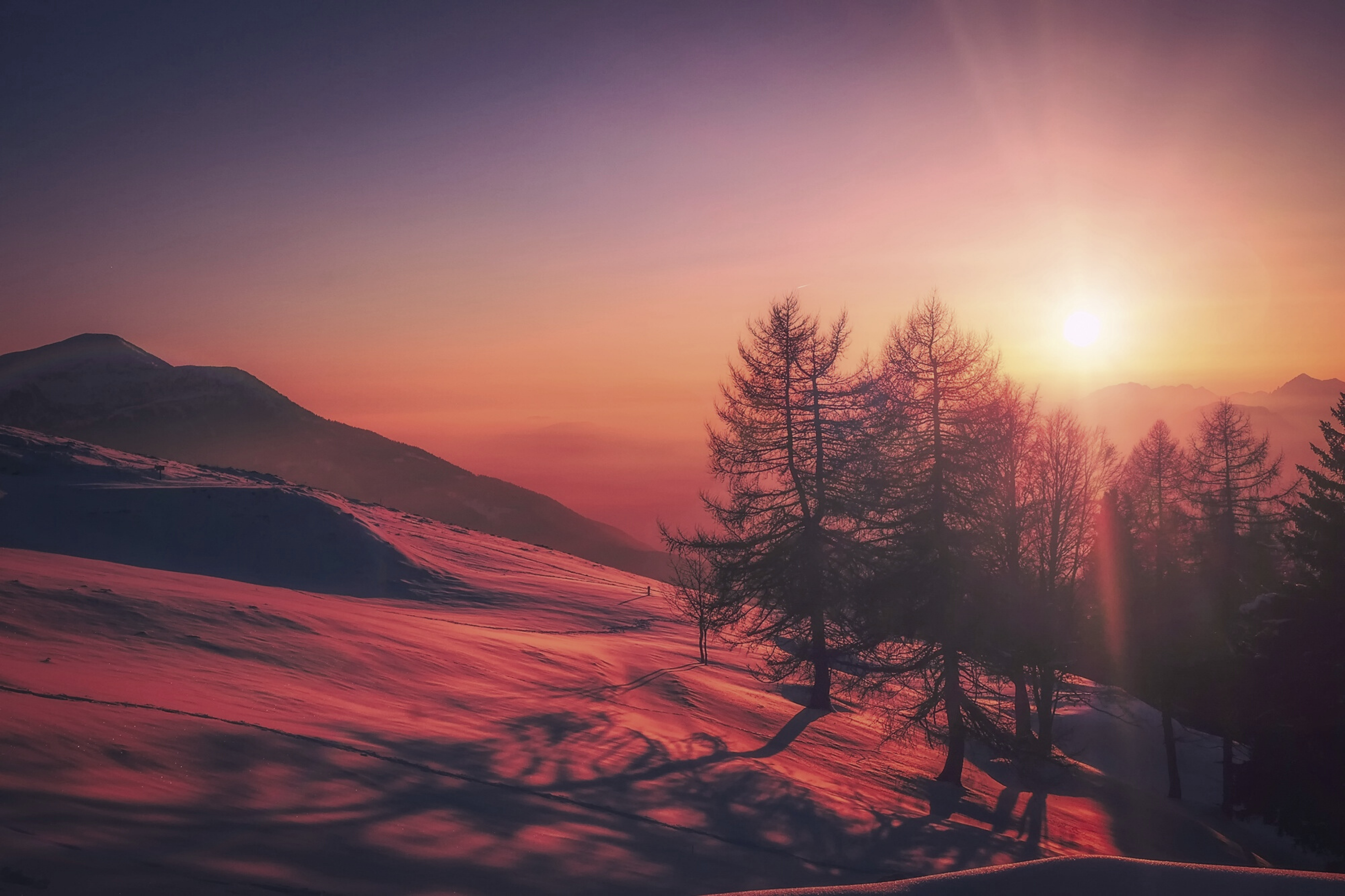 Beautiful Italy Red Sky Snow Mountains Sunrise Canvas Print By S1mplydes1gn In 2020 Sunrise Pictures Landscape Photography Sunrise Wallpaper