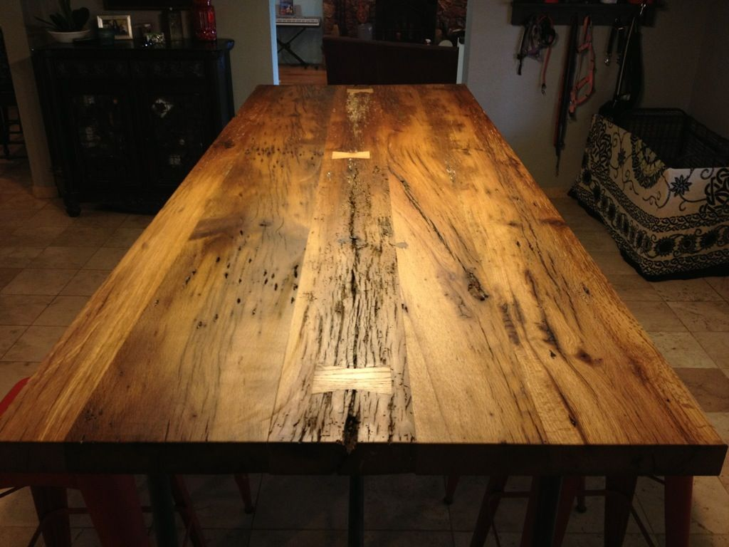 Reclaimed White Oak Table With Butterfly (Bowtie) Inlays