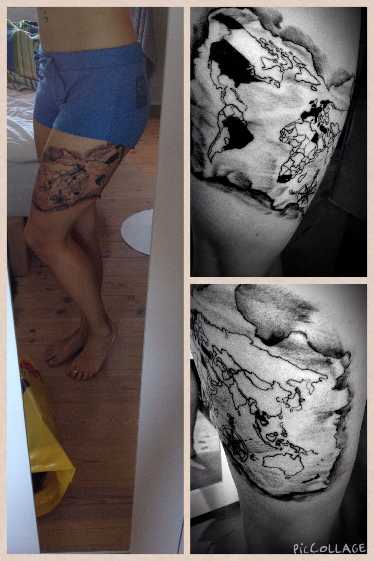 My latest tattoo a map of the entire world on my thigh with the my latest tattoo a map of the entire world on my thigh with the countries ive been in colored in world map tattoo thigh gumiabroncs Choice Image
