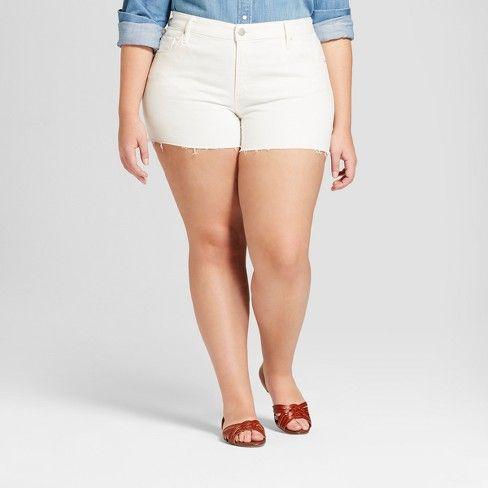 783686b872 Women's Plus Size Raw Hem Midi Jean Shorts - Universal Thread™ White :  Target