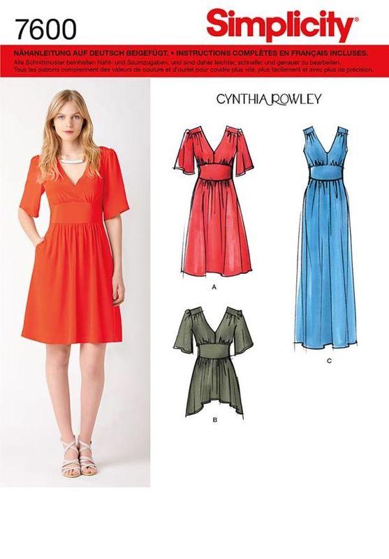 Schnittmuster Simplicity 7600 Kleid bei Schnittmuster.Net ...