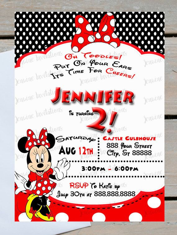 Minnie Mouse Birthday Invitations Red And Black Any Minnie Mouse