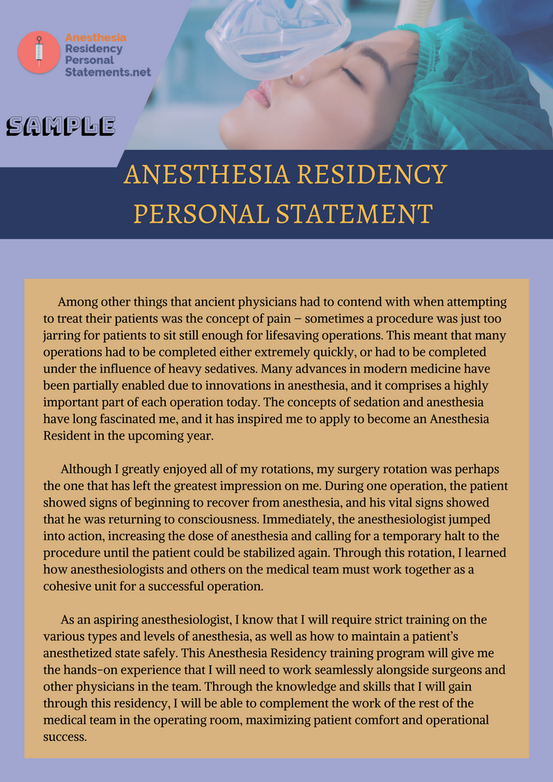 Pin by Residency Personal Statement Samples on Anesthesia