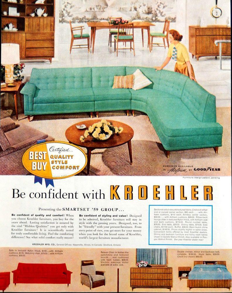 Vtg 1958 Kroehler furniture green sofa mid century advertisement ...