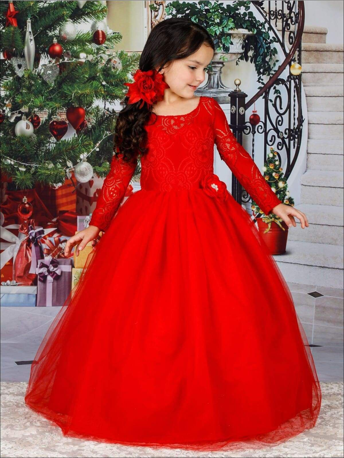 Girls Long Lace Sleeve Maxi Dress With Flower Clip Red Flower Girl Dresses Red Christmas Dress Girls Christmas Dresses [ 1600 x 1200 Pixel ]