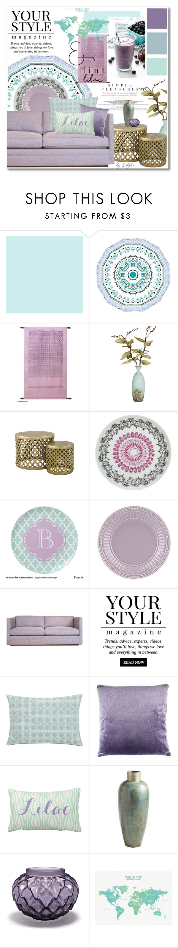 """""""HomeStyles : Mint&Lilac"""" by q-styles ❤ liked on Polyvore featuring interior, interiors, interior design, home, home decor, interior decorating, NOVICA, Dot & Bo, Jayson Home and Pussycat"""