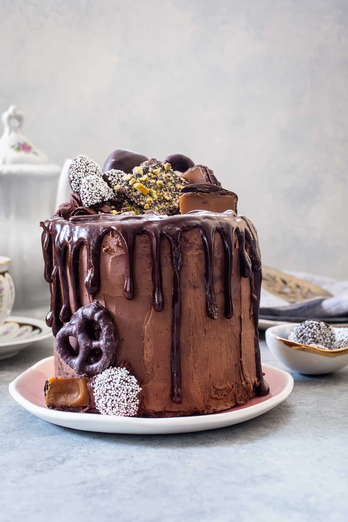 This Triple Chocolate Mousse Cake Is Small But Mighty This 4 Inch Cake Is Filled With Chocolate Cake Layers Chocolate Mousse And Finished Off With