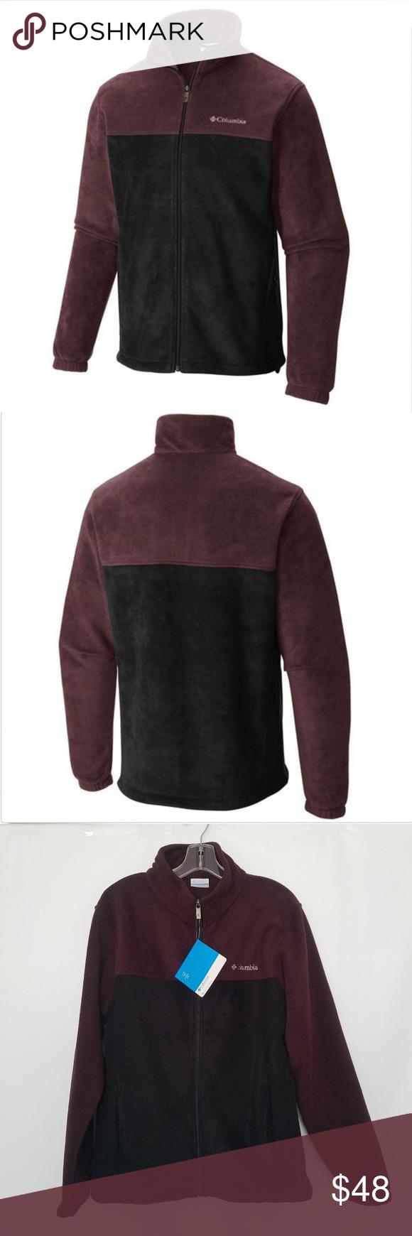 Columbia mens fleece jacket smoked maroon black nwt mens fleece