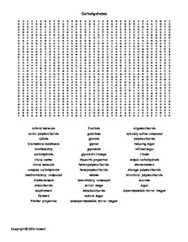 carbohydrates vocabulary word search for biological chemistry word search vocabulary words. Black Bedroom Furniture Sets. Home Design Ideas