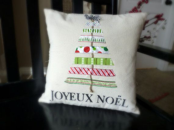 Christmas Pillow Cover Ribbon Tree by larksongcreations on Etsy, $26.00