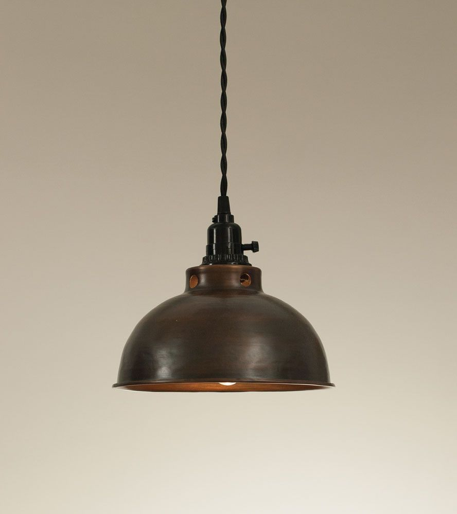 Dome Pendant Lamp Aged Copper Ceiling hooks Lamp cord and
