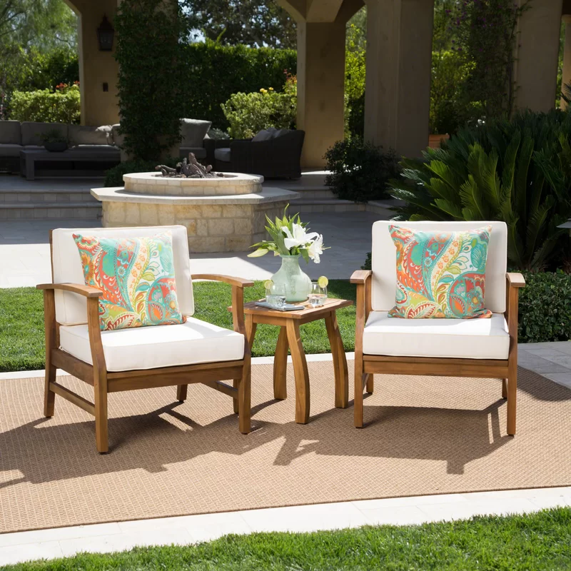 Antonia 3 Piece Seating Group With Cushions Reviews Birch Lane Conversation Set Patio Traditional Furniture Furniture