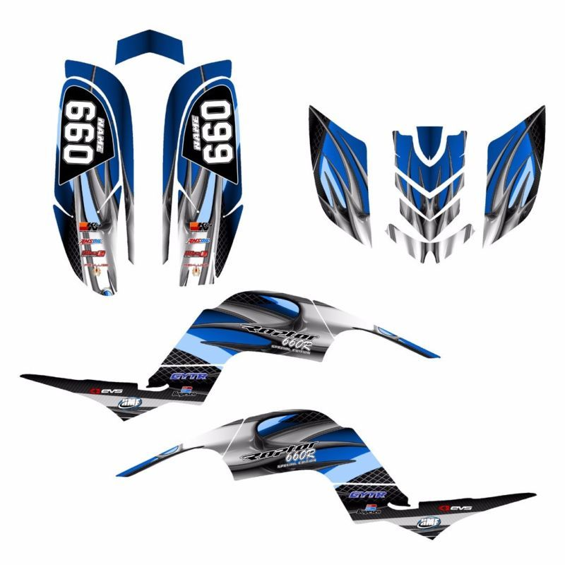 TRX 450R graphics sticker kit for Honda Quad #3500 Blue