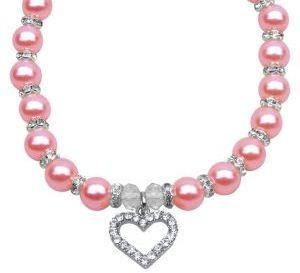 Heart and Pearl Necklace (Pink) (With