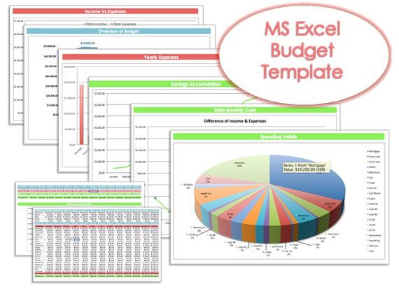 Budget Planner MS Excel Template DIY Budget Organizer by Pixel26 - budgeting in excel spreadsheet