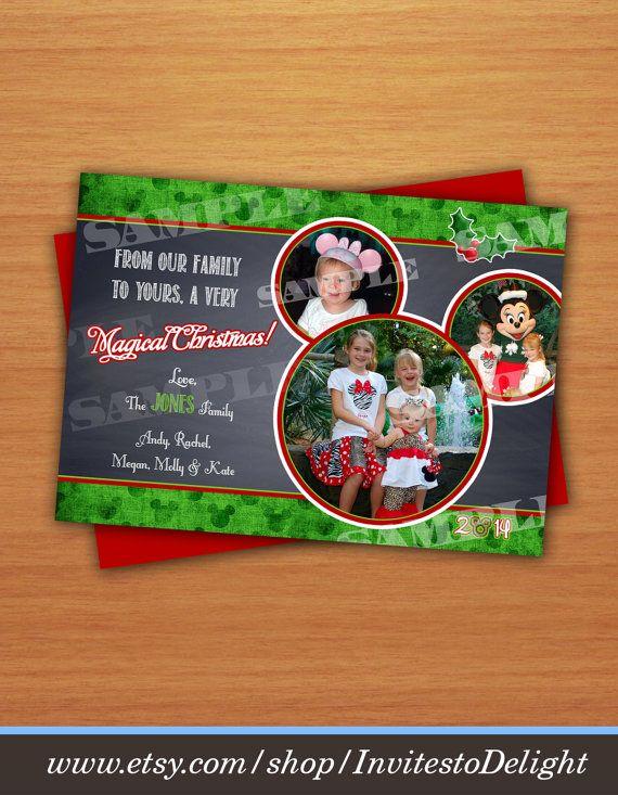 Digital Disney Inspired Photo Christmas Greeting Card Mickey Etsy Disney Christmas Cards Christmas Greetings Christmas Greeting Cards