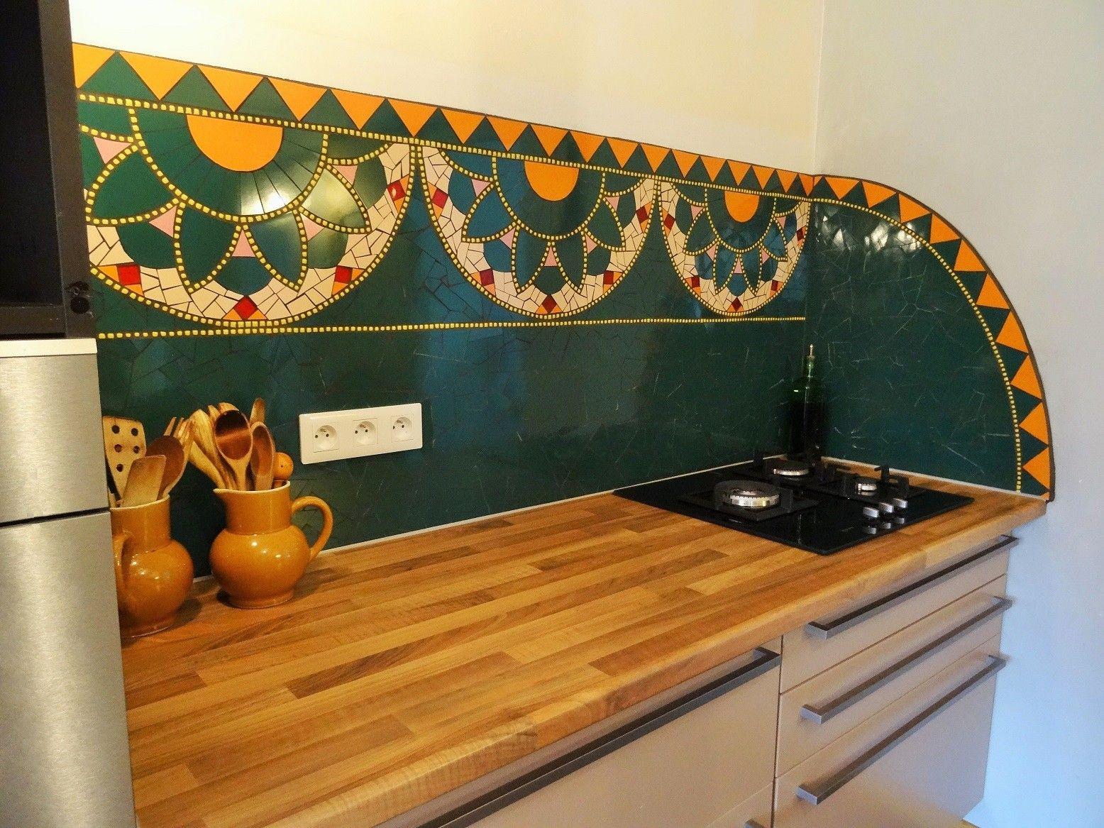 Crédence de cuisine en mosaïque contemporaine réalisée par Zam ...