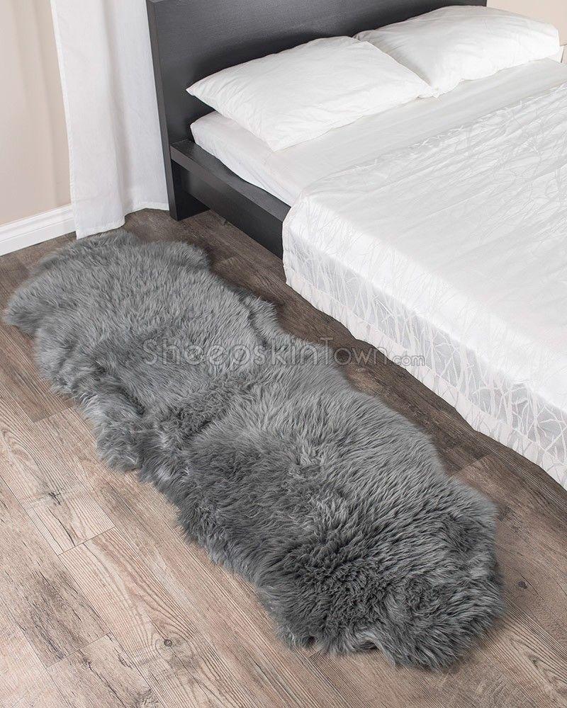 dover grey sheepskin rug - 2 pelt (2x6 ft) | grey sheepskin rug