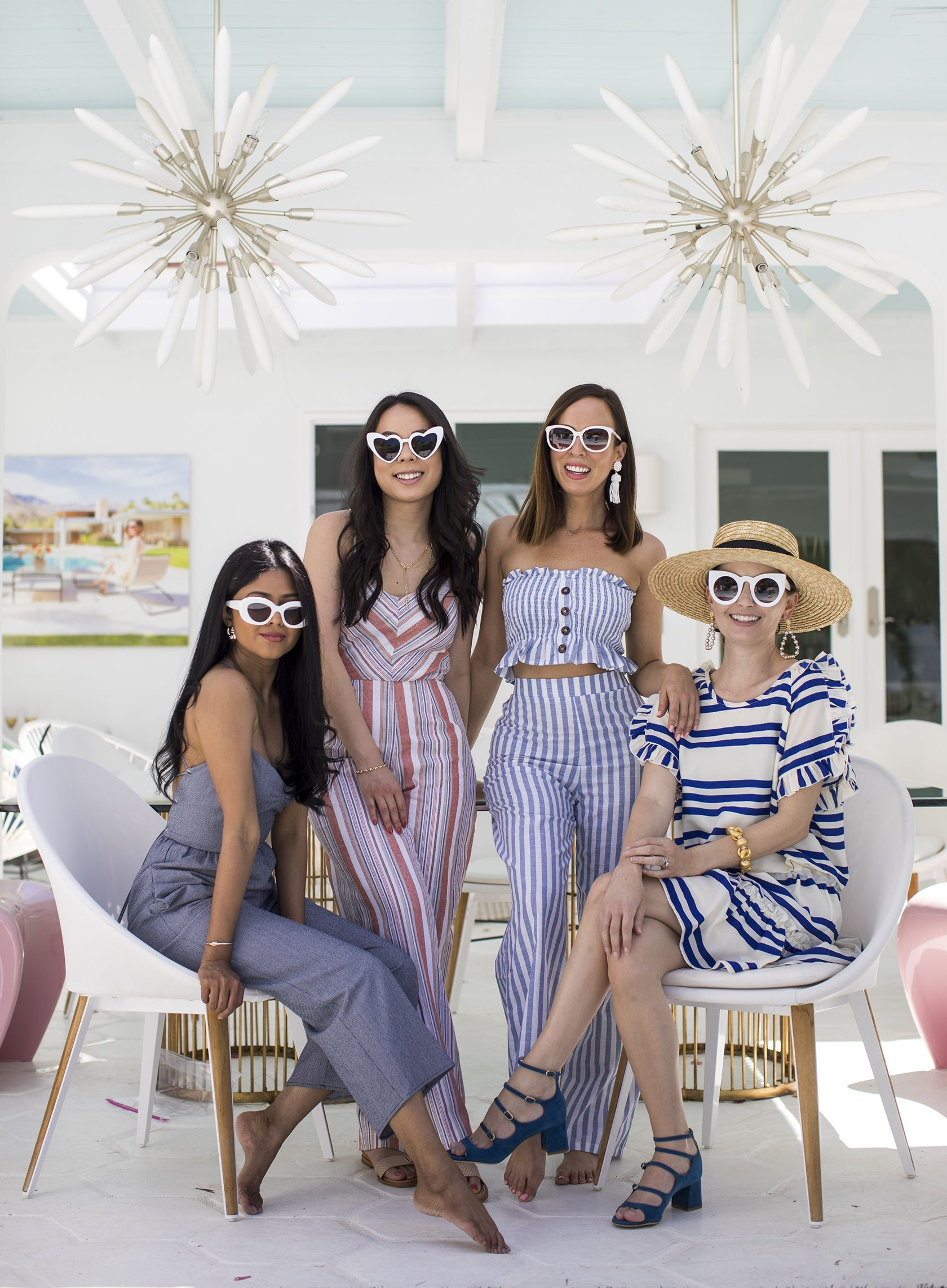452d85545323 Sydne Style shows palm springs outfit ideas in white sunglasses and stripe  trends  stripes  jumpsuits  friends  sunglasses