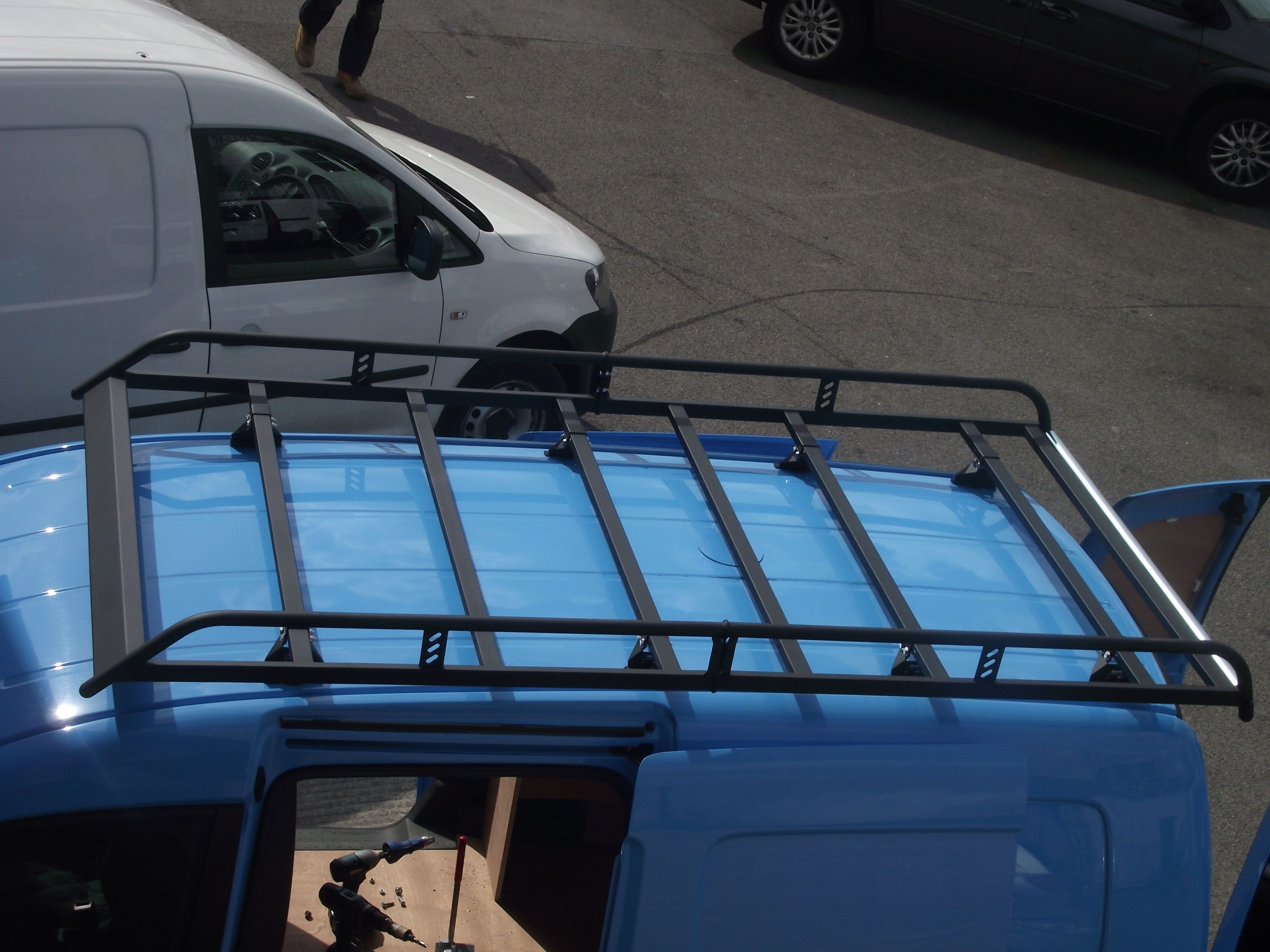 Modular Roof Rack Fitted To A Vw Caddy By Vehicle Accessories Limited Roof Architecture Modern Roofing Patio Roof