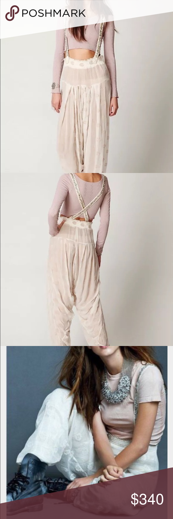 9071ab36c09 Free people glamourai sequin overalls harem pants Amazing embellished  overalls with sheer velvet burnout print sooo stunning they re unreal!