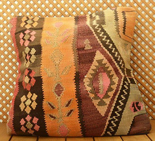 """20""""Vintage Turkish Authentic Handwoven Kilim Pillow Cover 20""""x20"""" From 60's / 70's (KP50-291) All Authentic Store http://www.amazon.com/dp/B00UFVLEI6/ref=cm_sw_r_pi_dp_PJJFvb01QF0RC"""