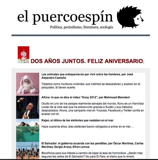 """¡Felices 2 años de aniversario para """"El puercoespín"""" y Graciela Mochkofsky!:  http://www.elpuercoespin.com.ar/"""