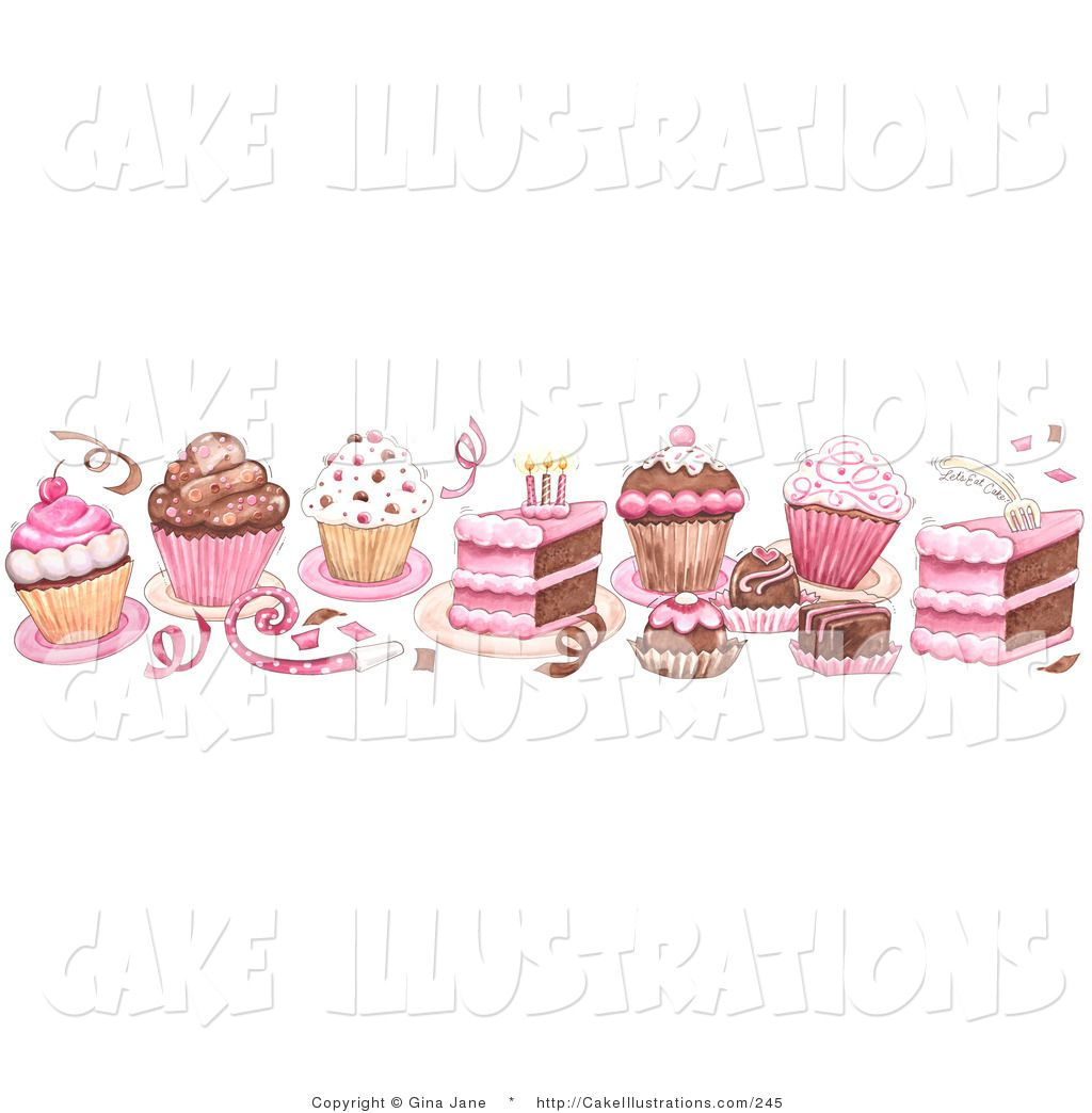 slice of cake clip art illustration of a pink border of birthday cake cupcake confetti and  [ 1024 x 1044 Pixel ]