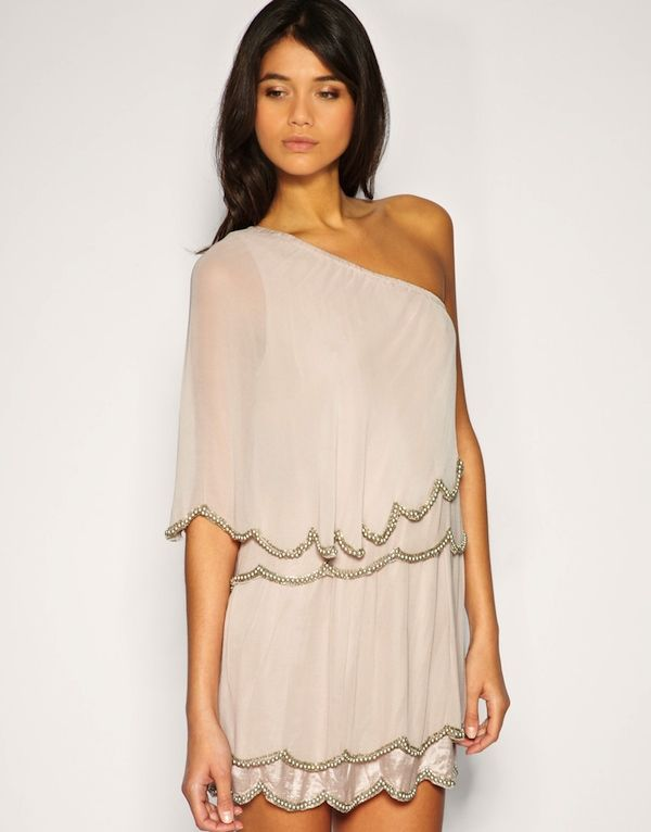 grey one shouldered scalloped dress