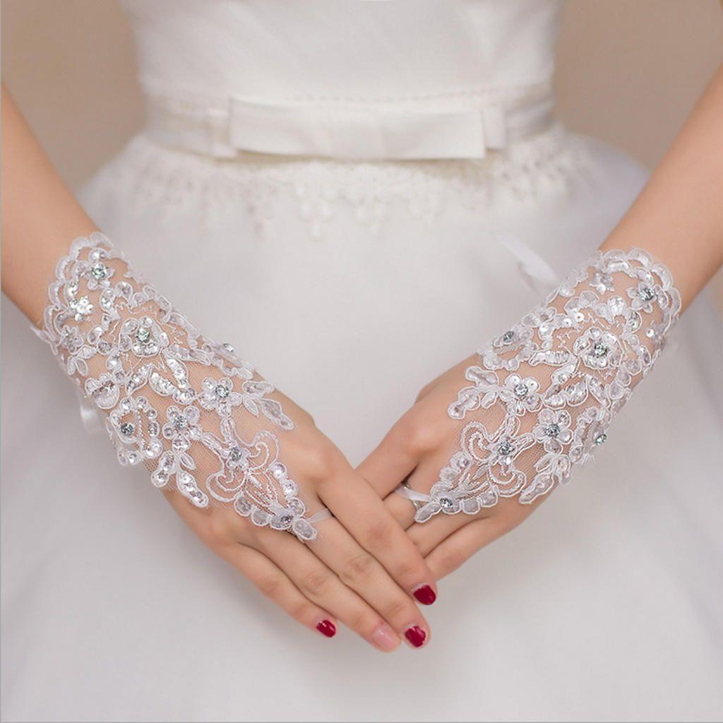 Robe de Charme Femmes Costume Floral Dame Mariée Mitaines Parti dentelle gants