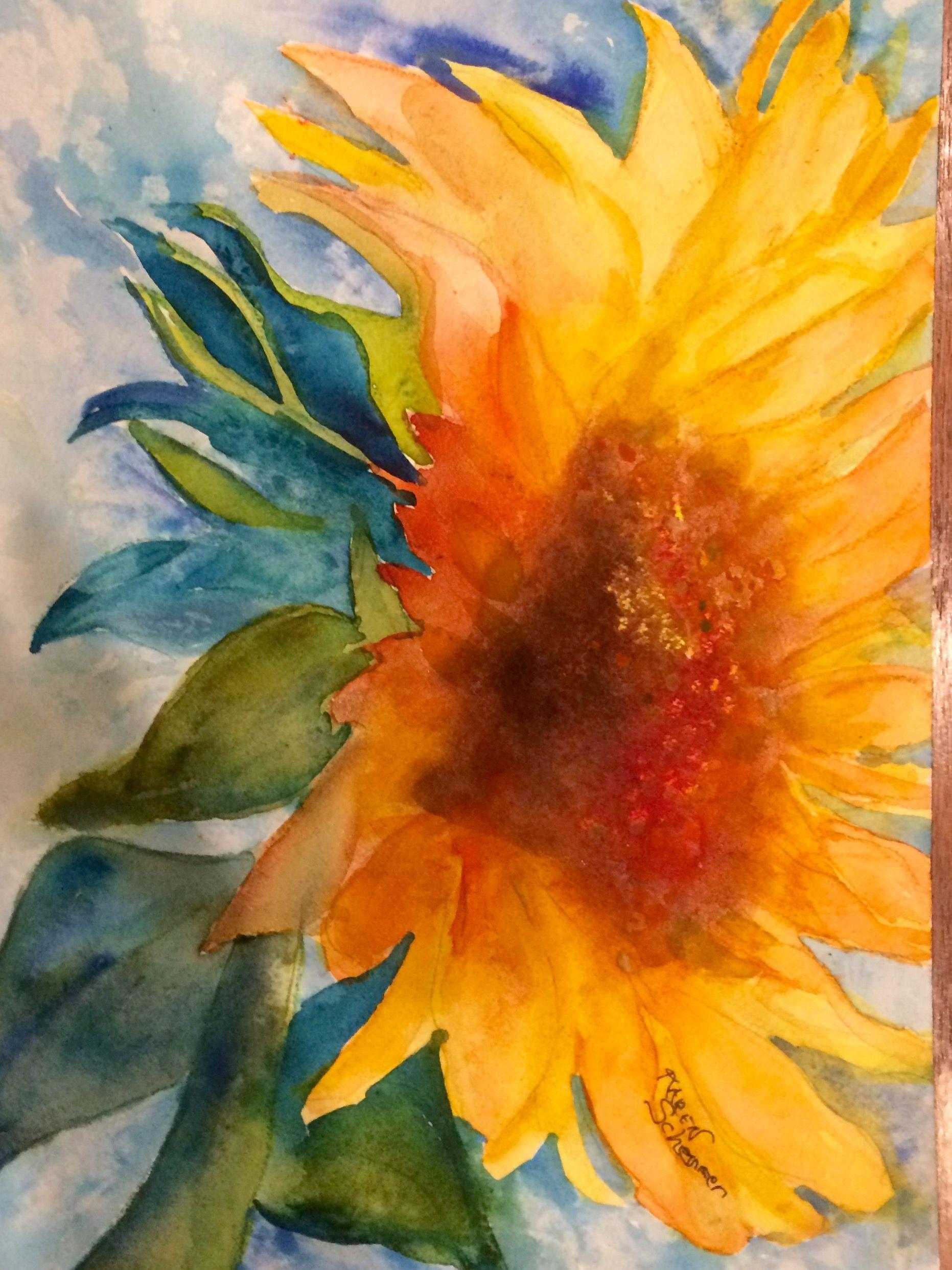 Watercolor artists in texas -  Saturday S Sunflower By Texas Watercolor Artist Karen Scherrer